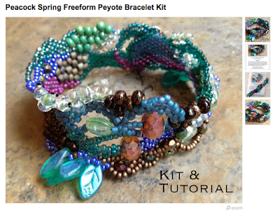 Peacock Spring: Freeform Peyote Bracelet Kit Etsy listing photos