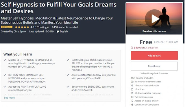[100% Off] Self Hypnosis to Fulfill Your Goals Dreams and Desires| Worth 199,99$