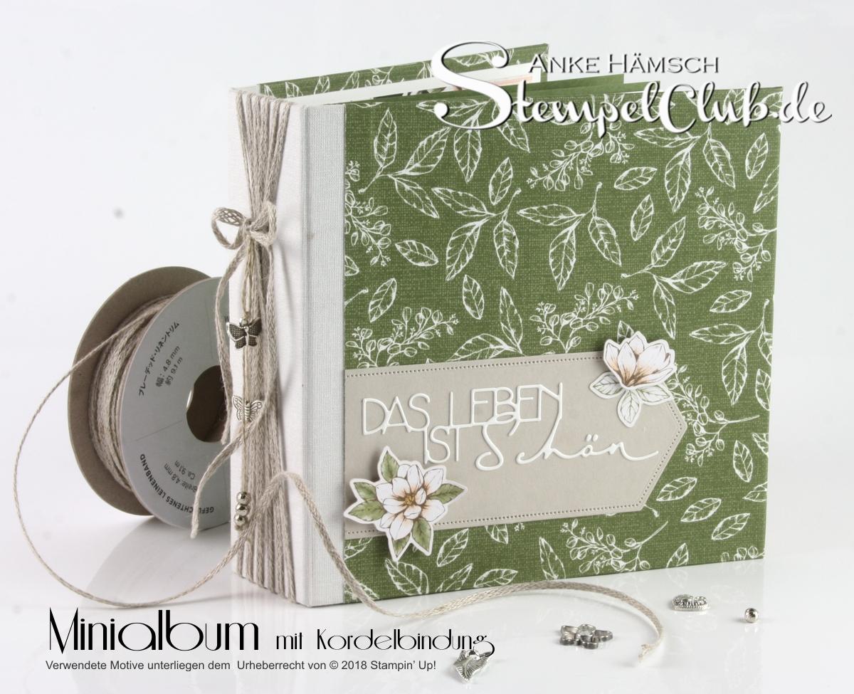 6x6 Minialbum mit Kordelbindung und dem Designerpapier Magnolienweg