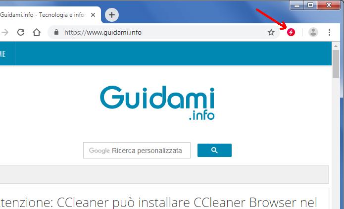 Barra estensioni Google Chrome con icona dell'estensione FasterChrome