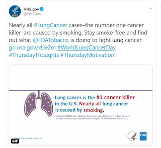 Screenshot of HHS.gov World Lung Cancer Day post on Twitter