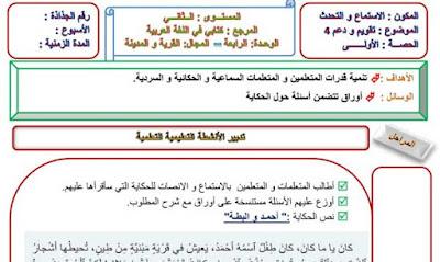 جذاذات أسبوع الدعم 4 الوحدة الرابعة مرجع كتابي في اللغة العربية المستوى الثاني ابتدائي