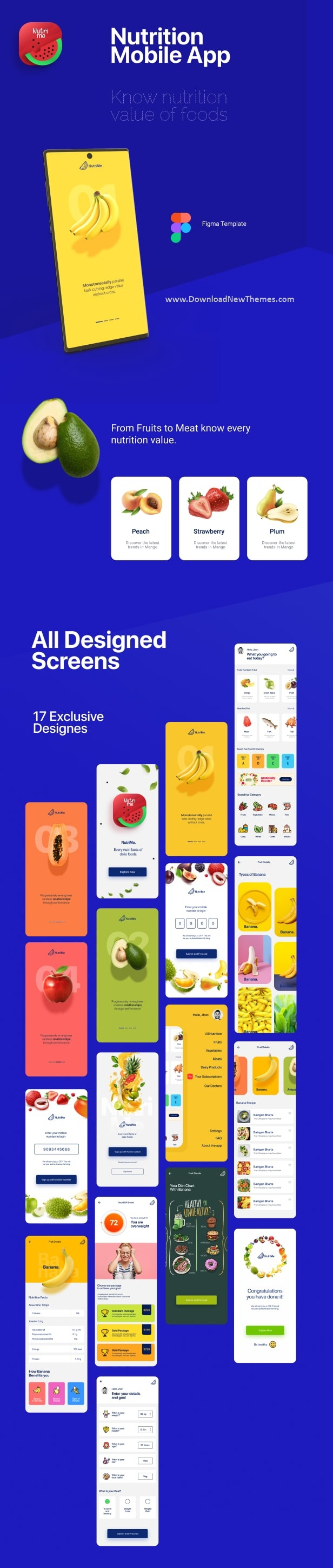 Online Nutrition Info Mobile App and Landing Page Figma Template
