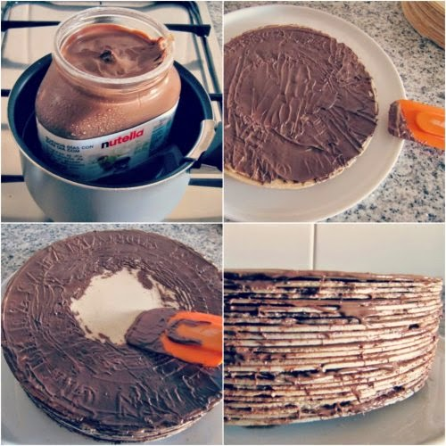 Paso a paso Tarta de obleas y nutella