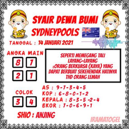 Syair Dewa Bumi Sydney Kamis 14 Januari 2021