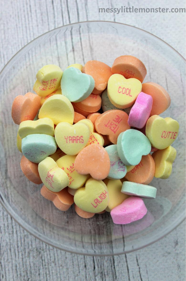 Valentine math using conversation hearts