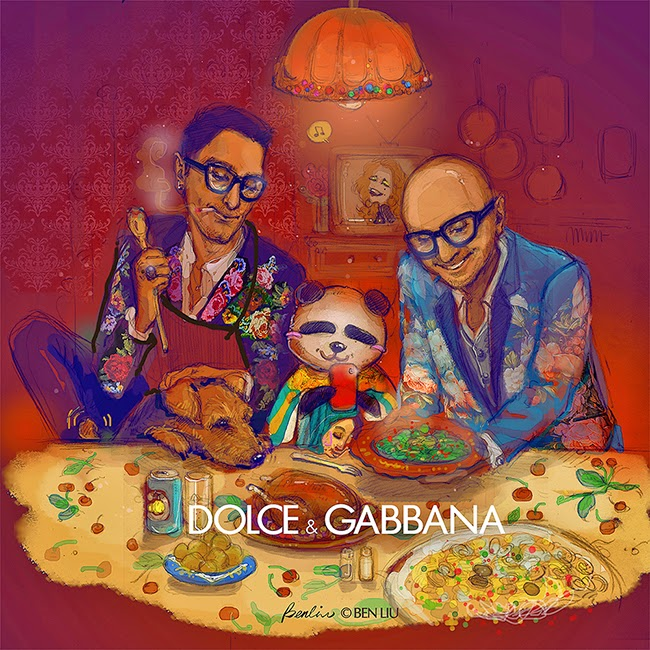 Dolce Gabbana by Ben Liu Benda, fashion illustration, D&G designers having traditional Italian supper with Panda Benda and Welsh Terrier, supper of BBQ Turkey chicken, meat balls, pasta and SanPellegrino Limonata, Benda taking selfie