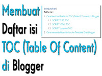 Membuat Daftar isi TOC (Table Of Content) di Blogger
