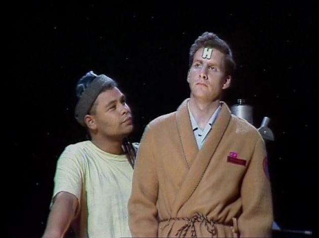 Lister and Rimmer in the observation dome on Red Dwarf