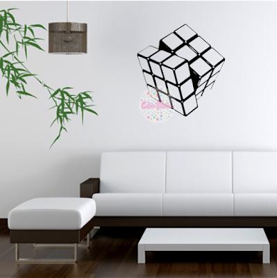 vinilo decorativo abstracto cubo rubik juegos retro