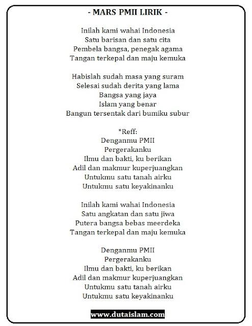 mars mahasiswa pmii teks lirik