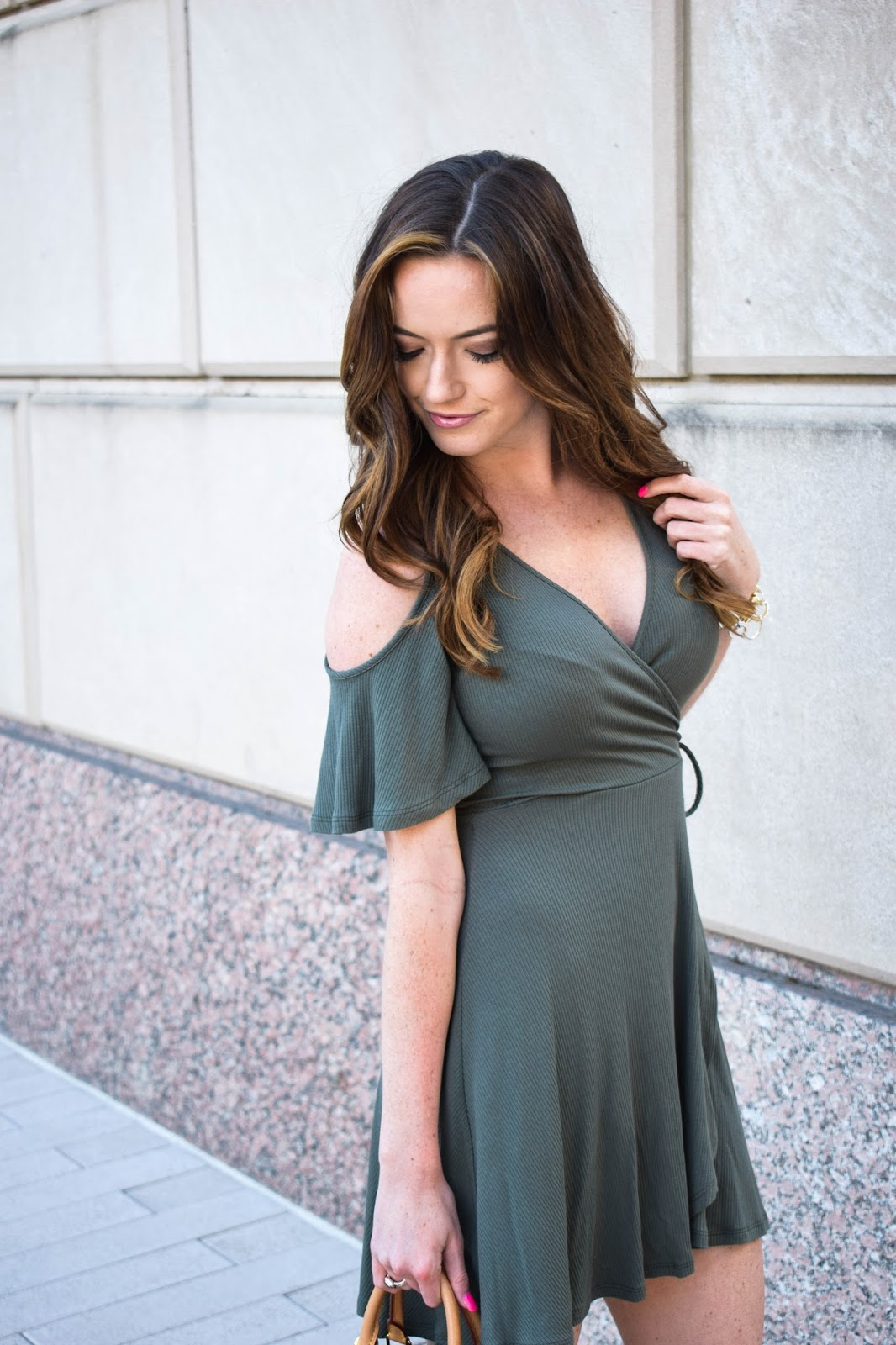 Olive Green Wrap Dress With Love Nikki