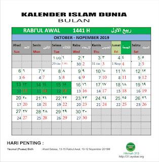 Kalender Islam Dunia Bersatu Bulan Rabiul Awal 1441 H