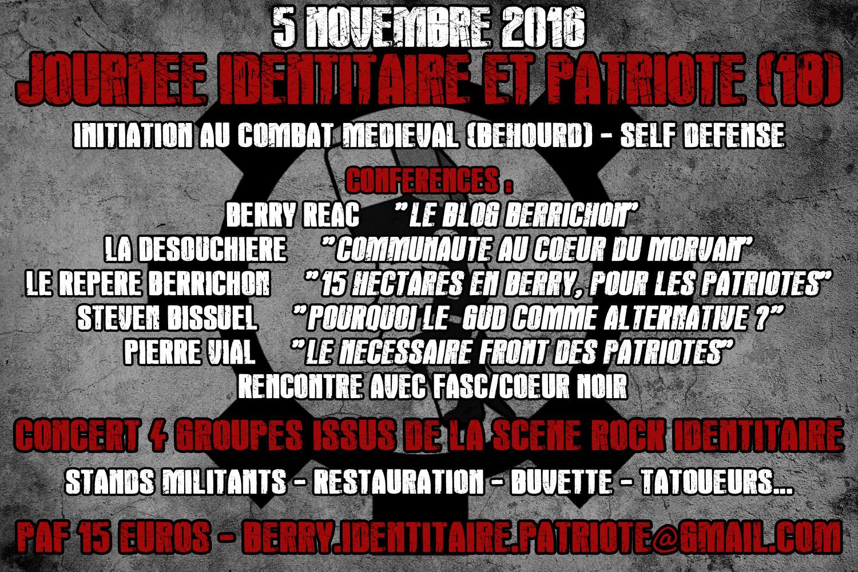 rassemblement victimaire-identitaire prévu le 5 novembre 2016, avec idéologie-en-musique