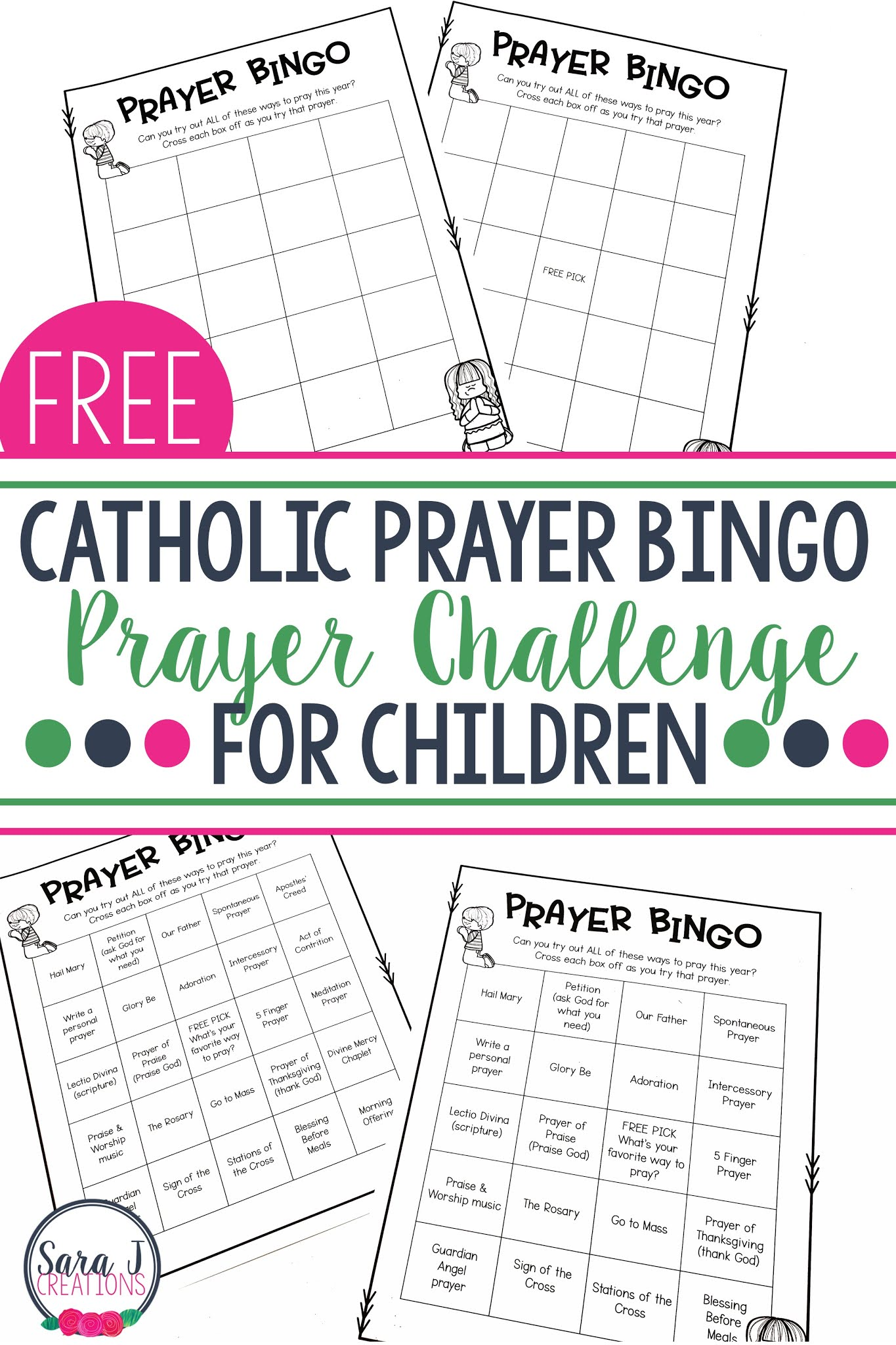 Free Catholic prayer bingo to help kids learn about and try all different kinds of prayer