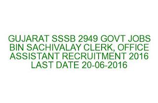 GUJARAT SSSB 2949 GOVT JOBS BIN SACHIVALAY CLERK, OFFICE ASSISTANT RECRUITMENT 2016  LAST DATE
