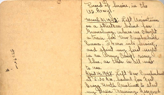 World War II diary of CJ Barnes with handwriting