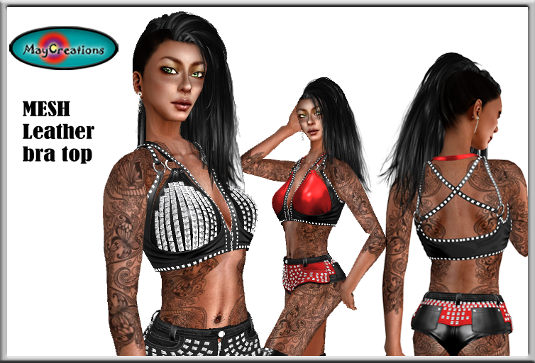 8fe9a4d608709 and on Second Life marketplace: MayCreations leather bra top studded black  MayCreations leather bra top studded red MayCreations studded shorts black  & red