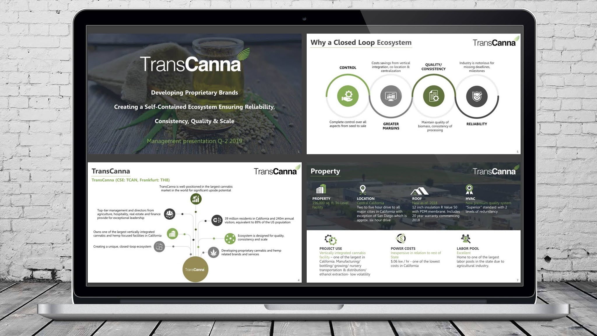 Cannabis PowerPoint company pitch deck for a leading Clifornia marijuana brand, showing the process of production and distribution of CBD.