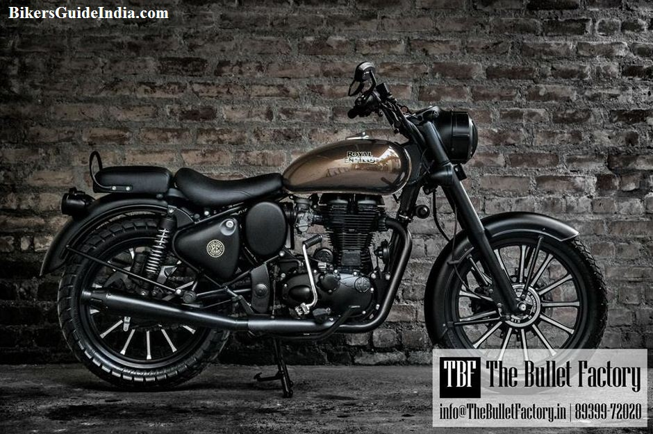 The Royal Enfield Classic darkest grey and black color painted