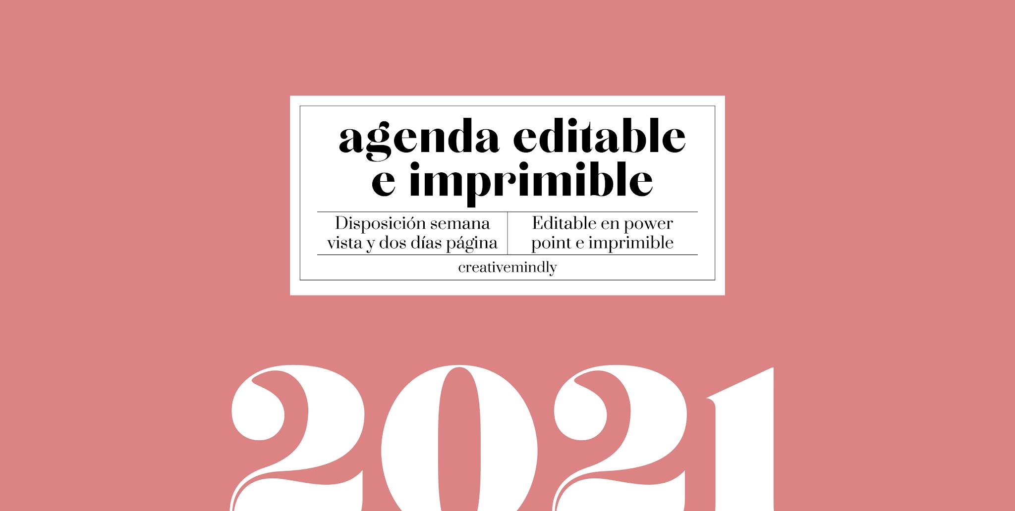 agenda editable imprimible 2021