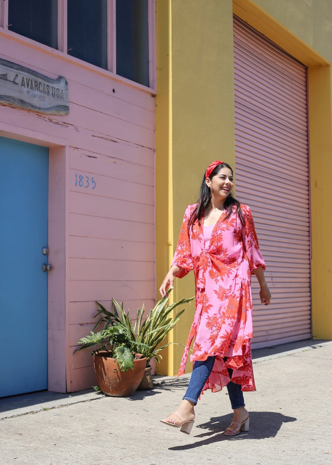 chic colorful outfit, barrio logan colorful walls, fun outfit in san diego