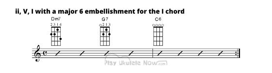 ii, V, I with Major 6 embellishment for the I chord