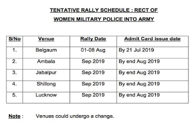 military police women admit card 2019 Schedule