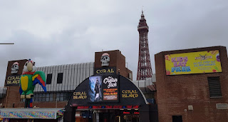 Coral Island amusement arcade and a view of the Tower in Blackpool