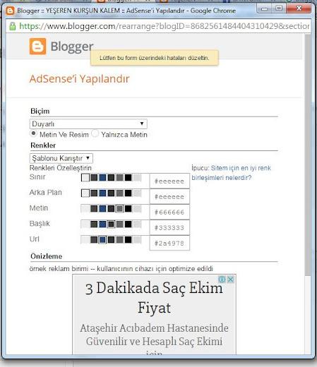 """Blogger ADSENSE Gadgetinde """"Lütfen bu form üzerindeki hataları düzeltin"""" uyarısı ve çözümü"""