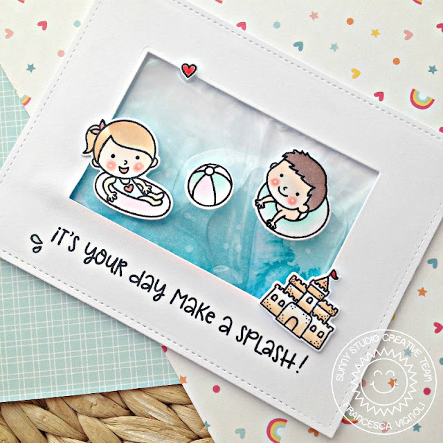 Sunny Studio Stamps: Beach Babies Water Splash Shaker Card by Franci Vignoli