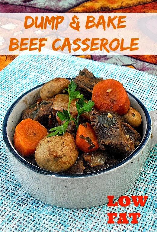 Dump and Bake Beef Casserole ~ No-Fuss Low-Fat Beef Casserole ! #LowFat #BeefCasserole #Casserole