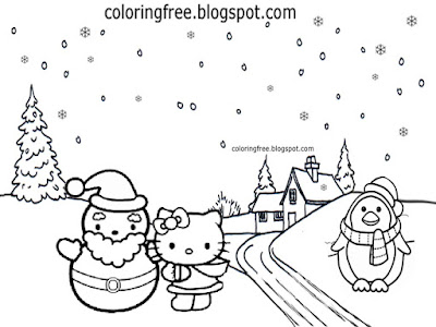 Teenage girls pretty surroundings making winter snowmen coloring sheet hello kitty drawing designs