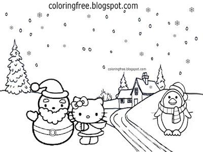 Teenage girls pretty surroundings making winter snowmen coloring sheet hello kitty drawing designs