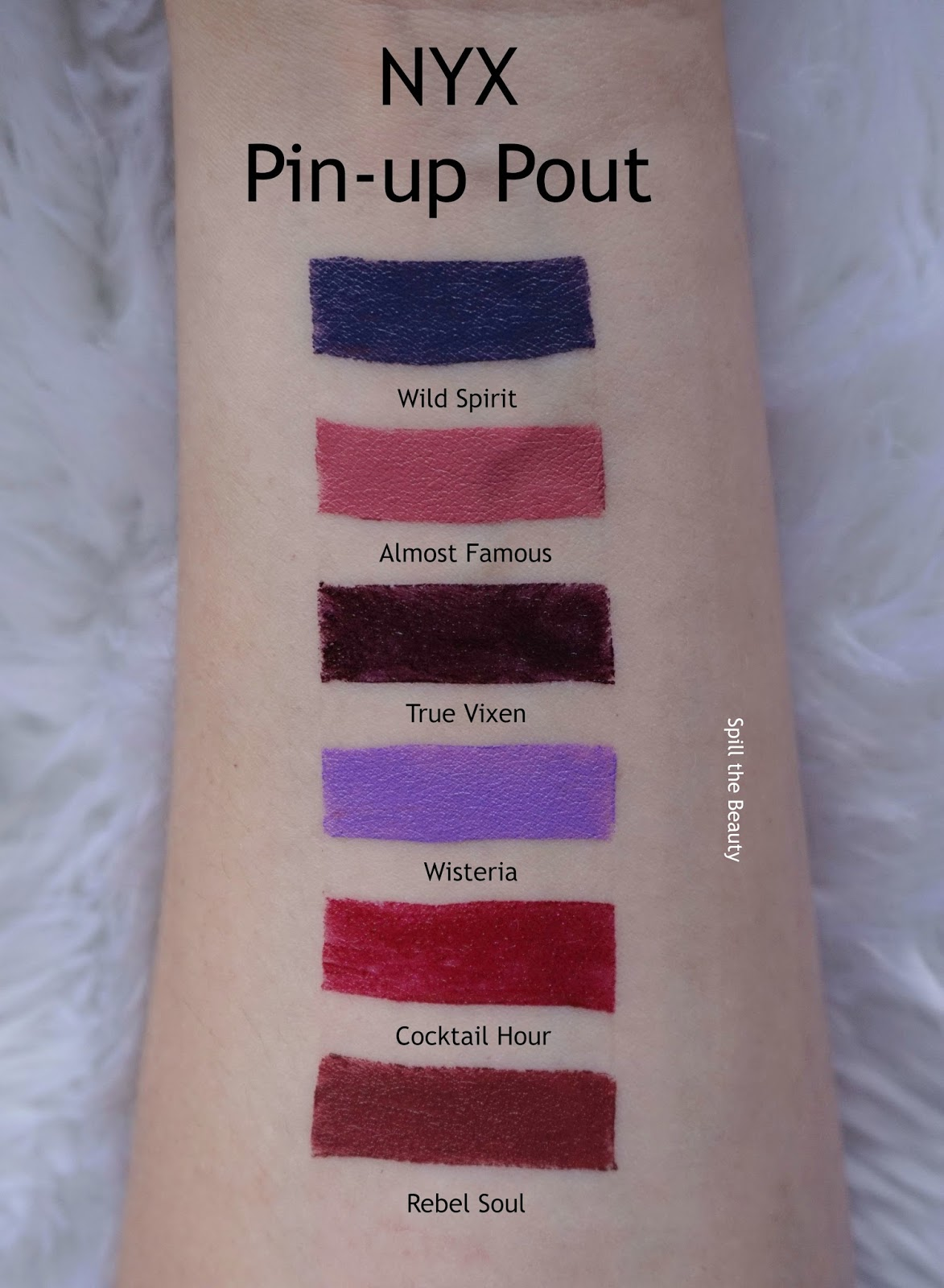 nyx pin up pout lipstick review swatches wild spirit almost famous true vixen wisteria cocktail hour rebel soul