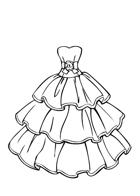 vestido de princesa para colorear