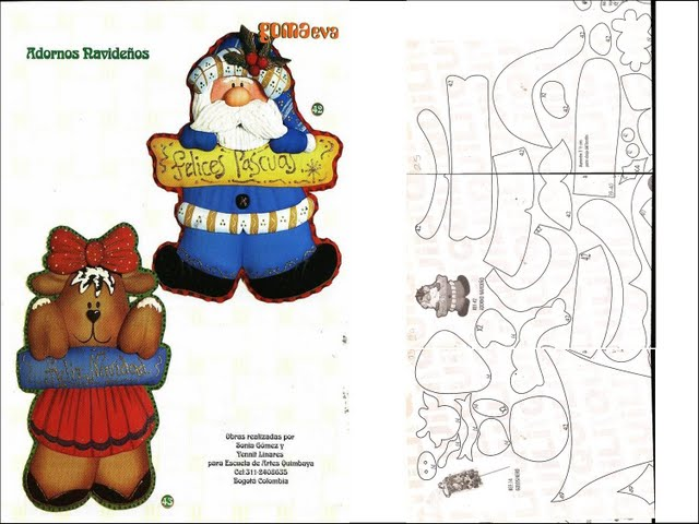 Adorno navideño manualidades goma Eva de papá Noel