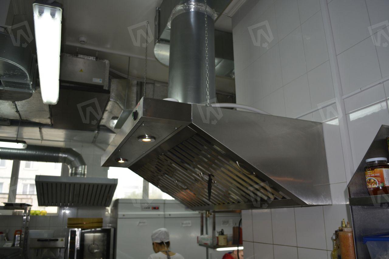 Вытяжной зонт из нержавеющей стали с жироуловителями в ресторане паназиатского ресторана Tai