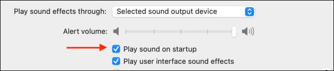 حدد علامة الاختيار بجوار خيار تشغيل الصوت عند بدء التشغيل لتمكين الميزة أو تعطيلها