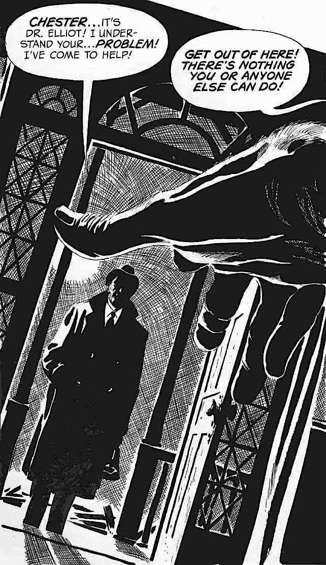 a story panel for Creepy or Eerie by Angelo Torres, rejecting the visiting doctor