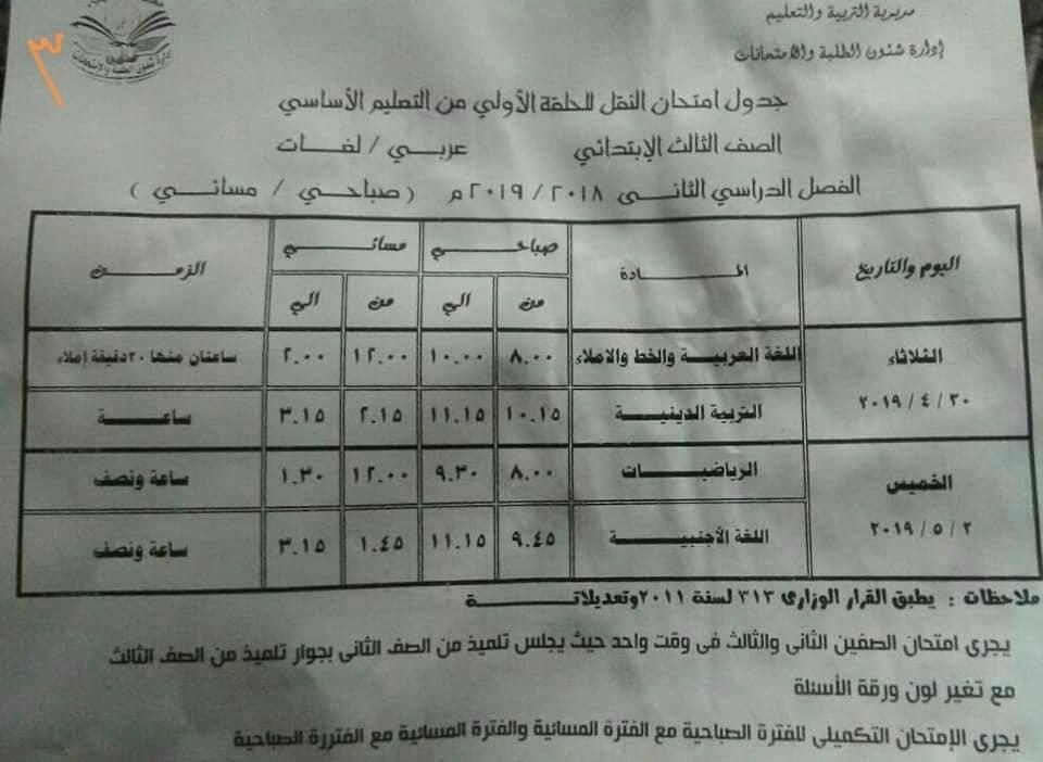 جداول امتحانات الترم الثاني 2019 محافظة الدقهلية