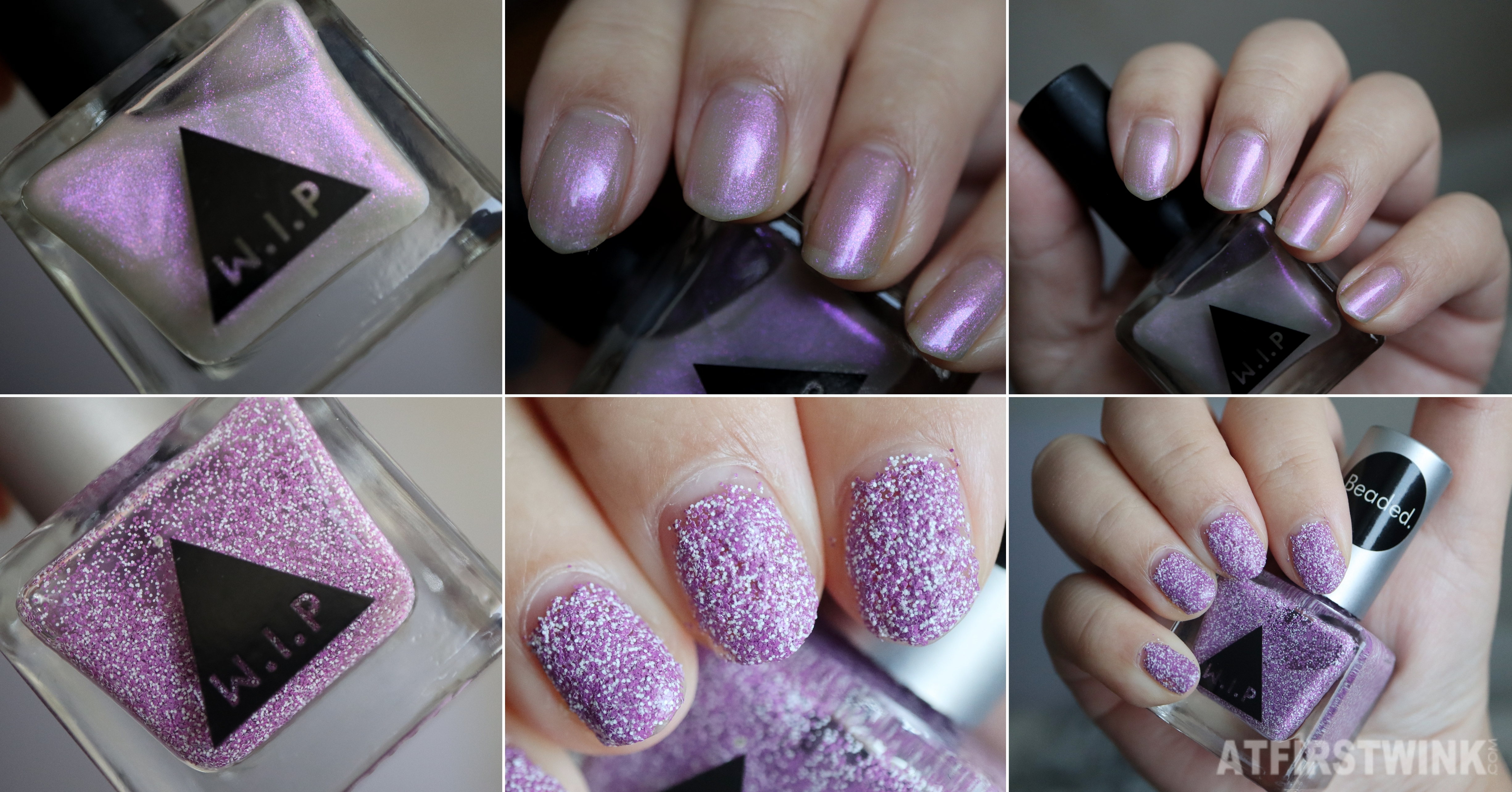 Review Urban Outfitters WIP nail polish - purple beaded and halo nail swatches