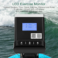 Goplus Gymax Water Rowing Machine's LCD monitor, image, displays count per mount, time, count, distance, scan, calories, heart rate