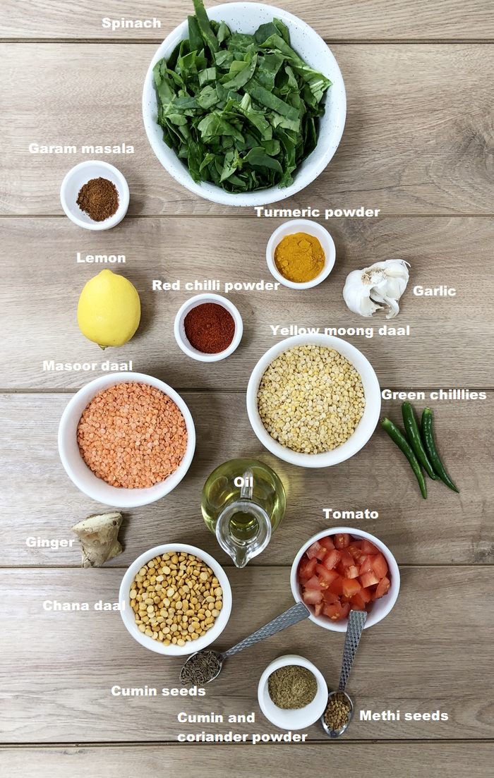 All the ingredients in small bowl for three lentils daal which is cooked in an Instant pot.