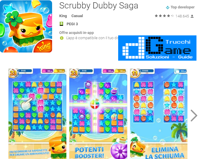 Soluzioni Scrubby Dubby Saga livello 361 362 363 364 365 366 367 368 369 370 | Trucchi e  Walkthrough level