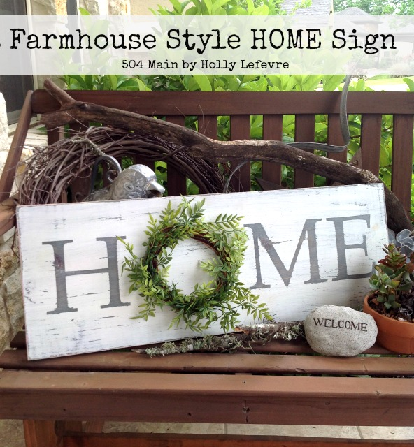wood home sign by 504 main