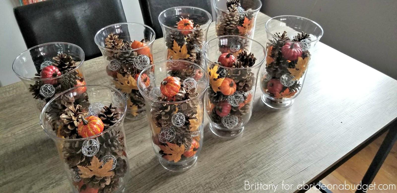 Fall Wedding Centerpieces On A Budget: DIY Pine Cones And Pumpkins Fall Wedding Centerpieces
