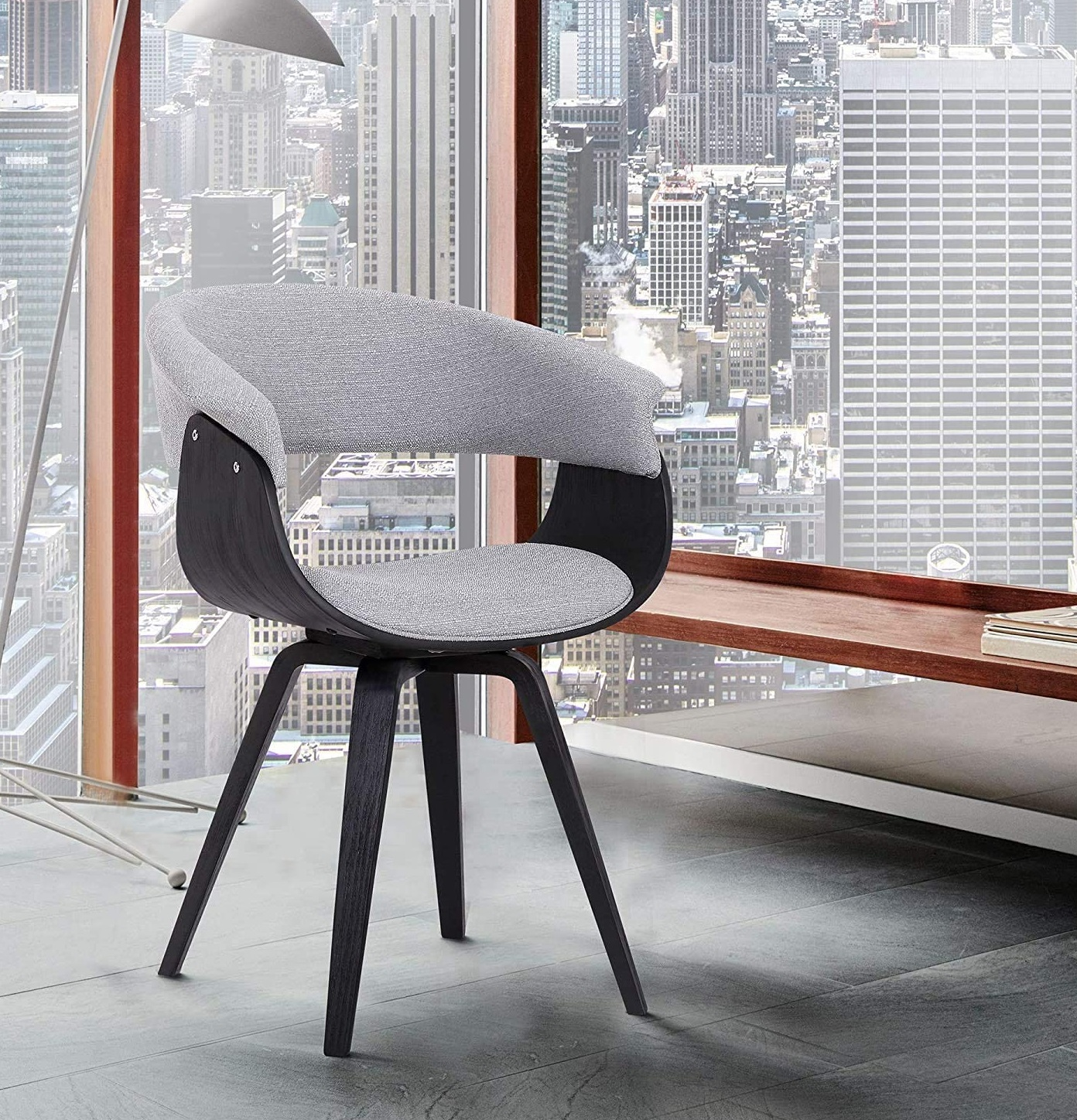 Best ideas Grey Minimalist livingroom contemporary Chair with charcoal fabric and Walnut wood finish