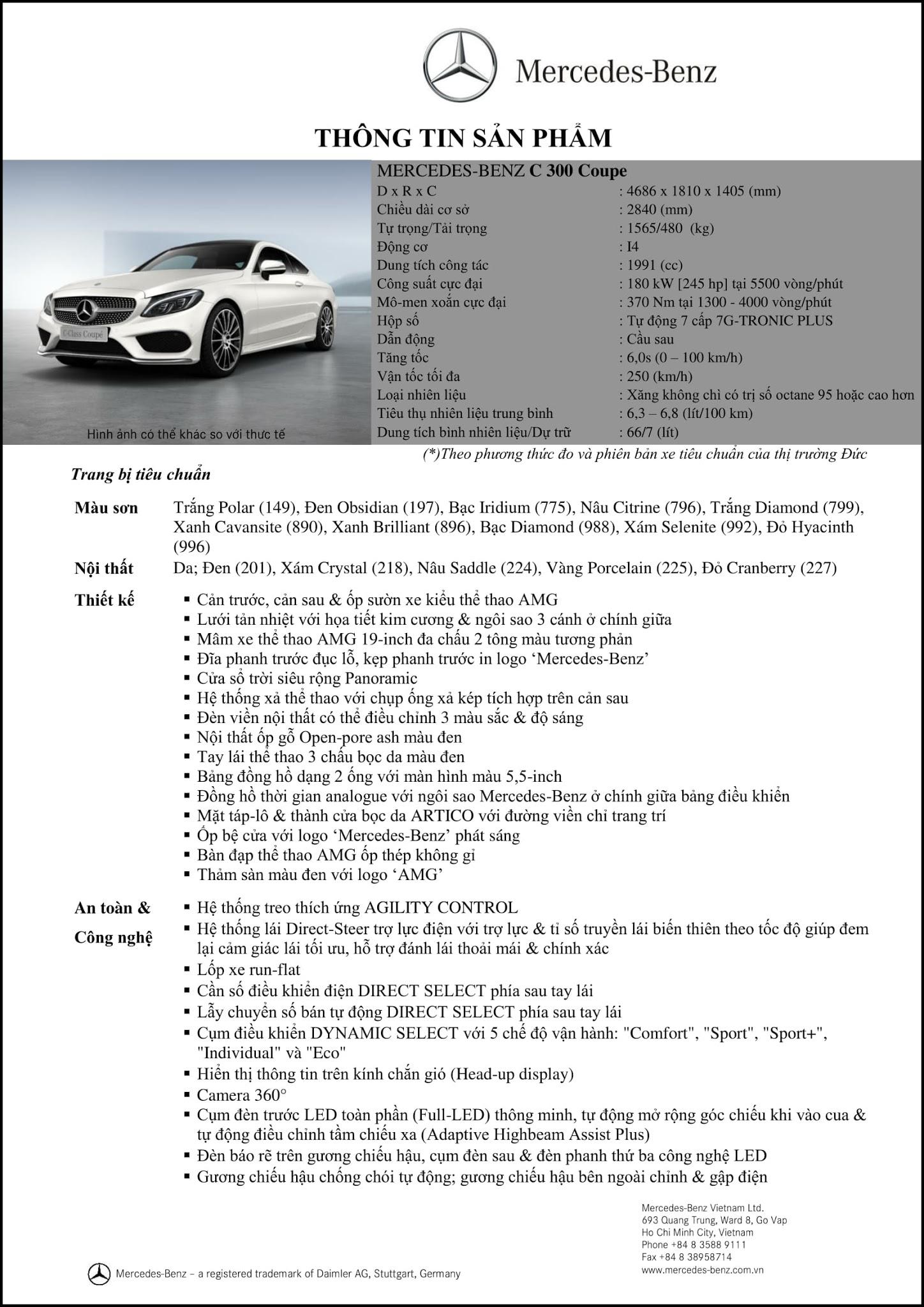 Bảng thông số kỹ thuật Mercedes C300 Coupe 2017 tại Mercedes Trường Chinh