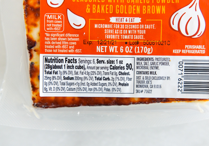 Trader Joe's Garlic Bread Cheese Review and nutrition info